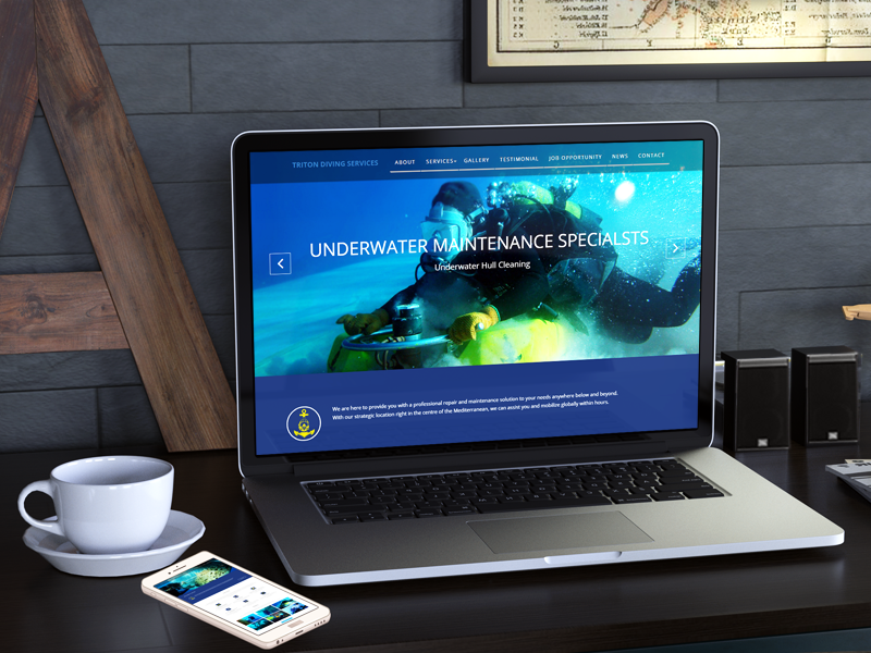 Responsive HTML5/CSSS Website, icons, Client Triton Diving Service, Malta